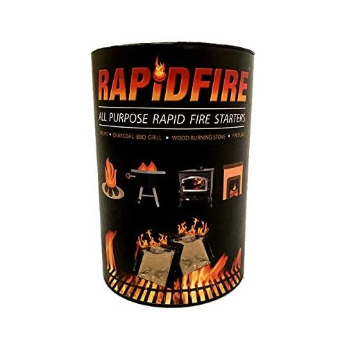 Prep Store RAPIDFIRE : Fire Starters Camping & Charcoal BBQ Fire Starter Fast Firestarter LONG LASTING: Burns up to 8 Min at over 750° 100% Waterproof CLEAN BURN: Odorless And Non-Toxic 100 PACK